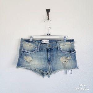 Wildfox Lara denim shorts/ raw hem cut off shorts